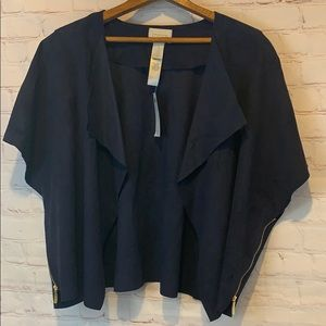 New Chico's navy faux suede waterfall jacket